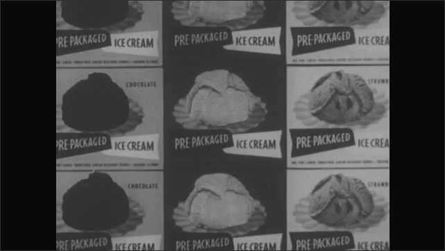 1950s: UNITED STATES: man works in druggist. Pre packaged ice cream boxes in store. Man looks at ice cream in store