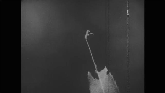 1950s: Plants.  Finger points at caterpillar eating leaf.  Caterpillar wriggles on stem.