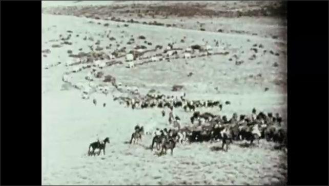 1970s: AFRICA: men talk. Lady on horse back. Boers cross Orange River in search of free land.
