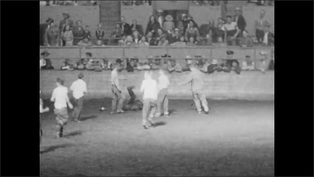 1950s: Kids chase pigs around ring. Kids walk towards exit.