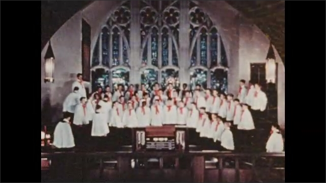 1950s: UNITED STATES: boys run to church. Boys in choir in church.