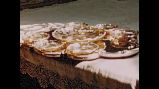 ITALY 1960s: Two glass figurines of women. Two chalets. Fancy glass goblet. Fancy tea ware.