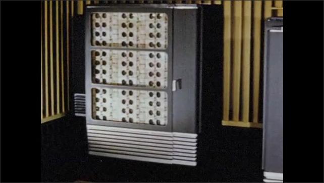 1950s: Tracking shot of data processing machines. Pan to printer