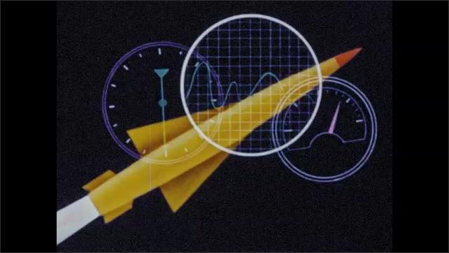 1950s: Animation of rocket firing. Gauges appear over rocket.