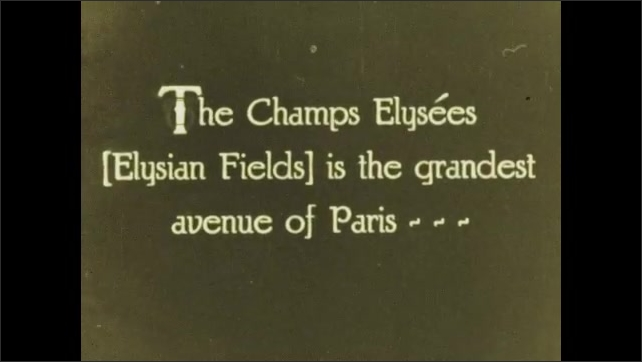 PARIS 1920s: Grand Palace of the Arts. Intertitle. Hotel de Invalides. Intertitle. Vehicles drive down Elysian Fields road in Paris.