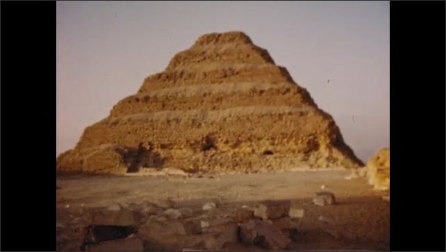 1950s: UNITED STATES: visit to Egypt. Monuments and pyramids in Egypt. Palm trees in Egypt. Face carved in stone
