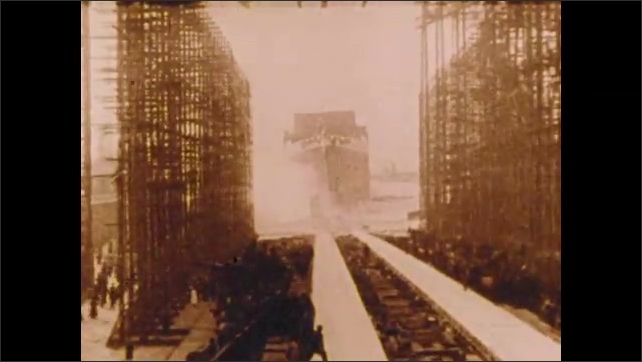 1900s: Dignitaries walk along.  Ship leaves dry dock.  Train.  Woman sits in carriage.