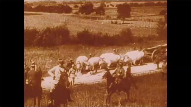 1900s: Oxen pull weapons to field.  Soldiers.