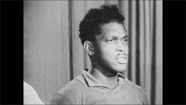 """1950s HARLEM NEW YORK: Witness Joe Jackson tells what he saw when man was hit by policeman. Wife of victim tells what she saw. Newspaper headline reads """"Polio Victim Beaten by Cops""""."""