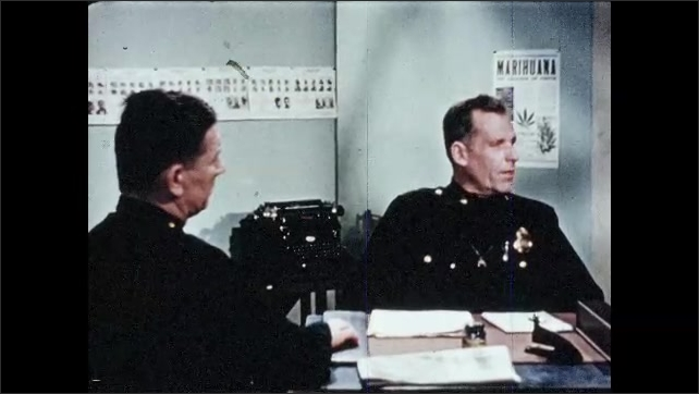 1960s: UNITED STATES: police photo of girl. Girl sits in police station. Girl gets police record. Police officer speaks to colleague