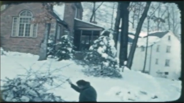 1940s: snow-covered trees and yards around houses, fallen tree, houses in snow