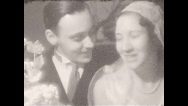 1920s: Girl and boy walk toward camera. Close up shots of bride and groom.