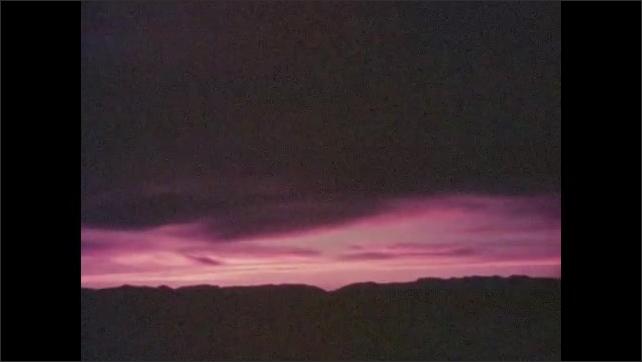1950s: Panning shots across sunset.