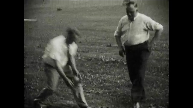 1930s: Caddy holds a flag at a hole as a man putts. Men compete in a game of ring toss together.