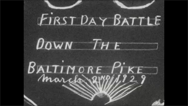 1920s: UNITED STATES: First Day Battle Down the Baltimore Pike, March 2nd 1929. Inauguration ceremony in Washington DC. People walk in park in Spring.