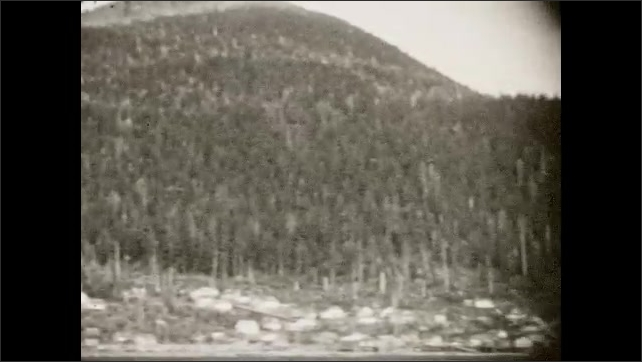 1930s: River gives way to the shore with forested hills leading up behind. Buildings along shore. Boats in river. Trolley boats passed harbor.