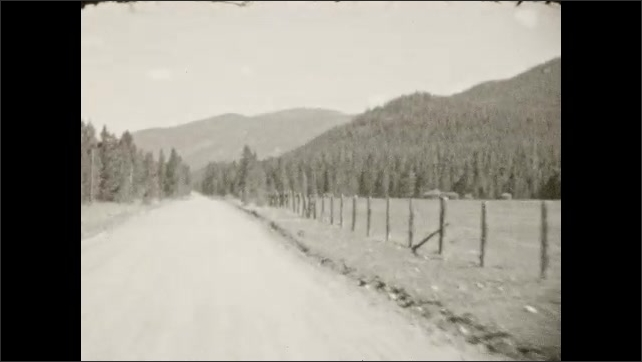 1930s: Man walks up road towards building. Woman and girl stand by building. Dogs stand, wag tail, run. Dirt road through forest.