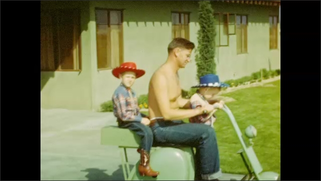 1920s: UNITED STATES: boy in cowboy hat. Man rides motorbike with boys. Boys sit on bike. Family sit by swimming pool.