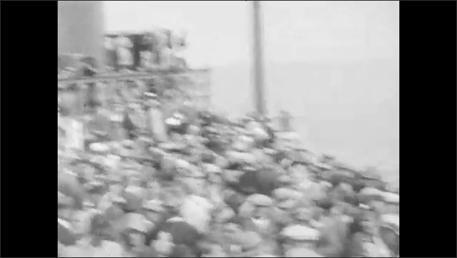 1920s: Pilot climbs into cockpit of airplane, which is on runway platform on boat. Plane takes off from boat. People crowd on deck of boat to watch then disperse. People in lounge on boat.