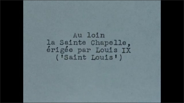 1950s: Tracking shot, traveling down elevator in Eiffel Tower. Intertitle. Street scene, man working in foreground.