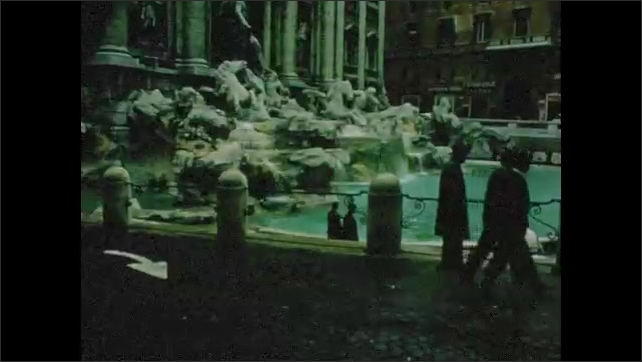 1960s: People walk around city, look at Trevi fountain.