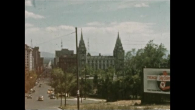 1930s: MEXICO: buildings and architecture in Utah. Dome on building. Settlement in Utah. Farm and fence