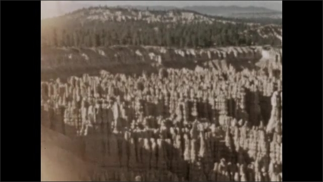 1930s: MEXICO: rock formations and features in sandstone canyon. Trees by canyon.