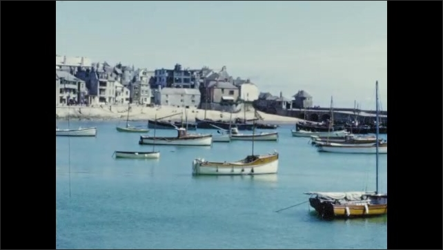 1950s: Seagull floats on clear ocean water by boats. Green fields next to the ocean.