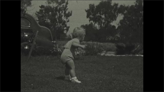 1930s: UNITED STATES: boy walks across grass. Toddler explores garden. Boy points with finger.