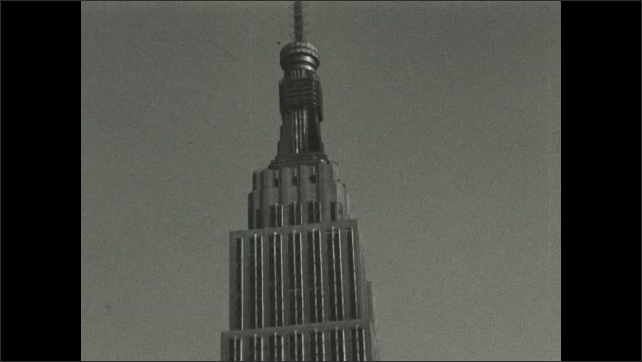 NEW YORK CITY 1940s: tower on top of New York building. Iconic buildings in New York.