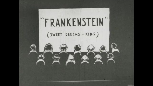 1930s: UNITED STATES: Frankenstein title. Sweet dreams kids. What's Playing? Girl talks to man at table.