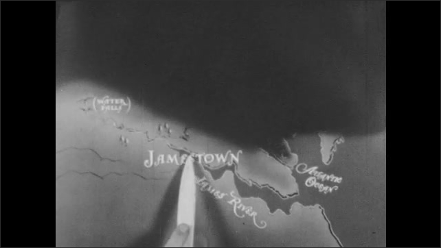 1940s: Waters runs down rocks. Stone cross stands on cairn. Hand and pointer move across map of Jamestown and the James River. Stone cross stands on cairn. Hand points to map. Large body of water.