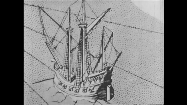 1940s: Scale model of Jamestown. Statue of Captain John Smith. Illustrations of Native Americans and ship. Statue of John Smith, Statue of Pocahontas.
