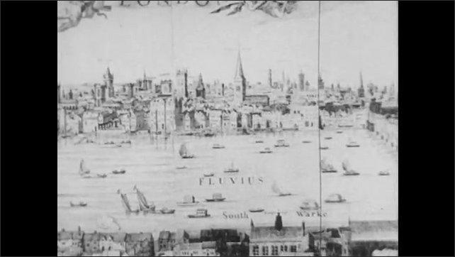 1950s: UNITED STATES: Drawing of River Thames. Fluvius label on map. England in Colonial times