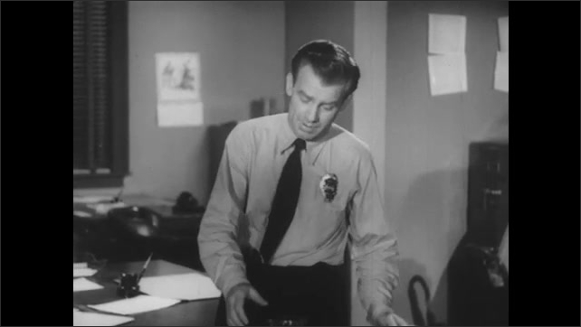 1950s: Policeman in tie and badge talks and pours a cup of coffee. Sergeant talks.