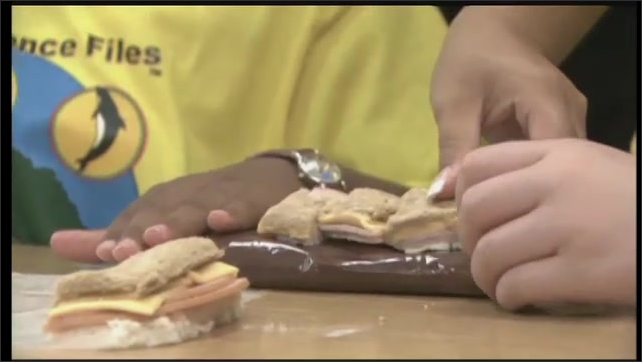2000s: UNITED STATES: boys talk at table. Sandwich used to demonstrate crust and mantle in plate tectonics. Boy talks to camera.