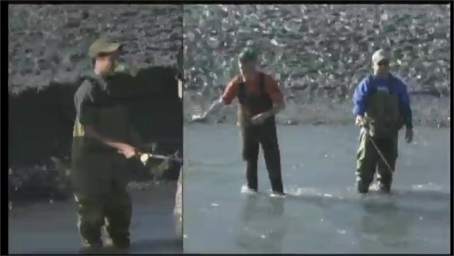 2000s: UNITED STATES: boy and men combat fishing. Fishermen catch salmon. Man fishing in waders