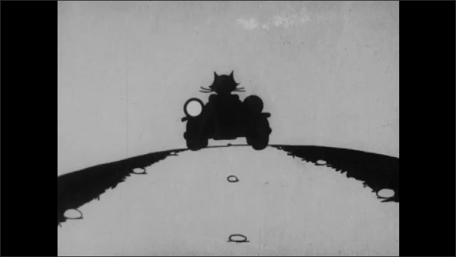 1930s: Wristwatch on cartoon cat. Female cat waits outside church. Cat drives car along bumpy road. Headlights flicker and fail. Man drives motorcycle on road and extends neck. Text placard.
