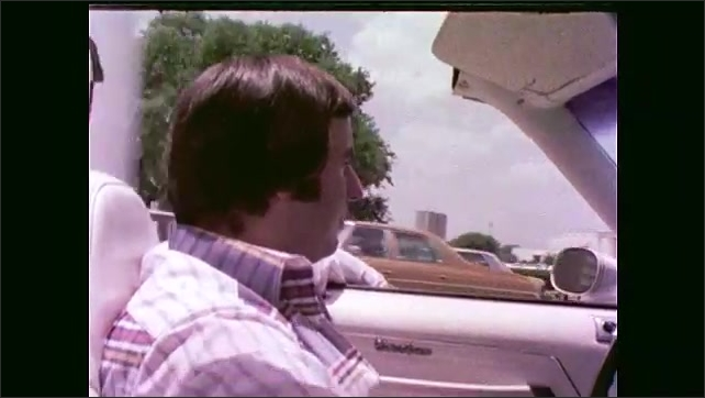 1970s: man walks down staircase in living room. guy drives Oldsmobile Cutlass on street in Houston and parks near Lewis and Coker grocery store with Green Stamps signs.