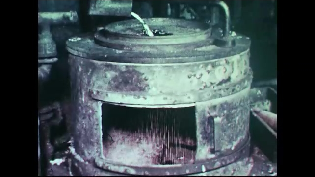 United States: 1960s: Lead processing plant. Lead being melted. Lead casting and rolling. Strips of lead. Lead poured to make lead shot. Lead in stained glass window