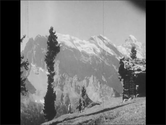 1940s: Swiss alps, steep mountains, family hikes past evergreen trees, sits down on grassy hillside.