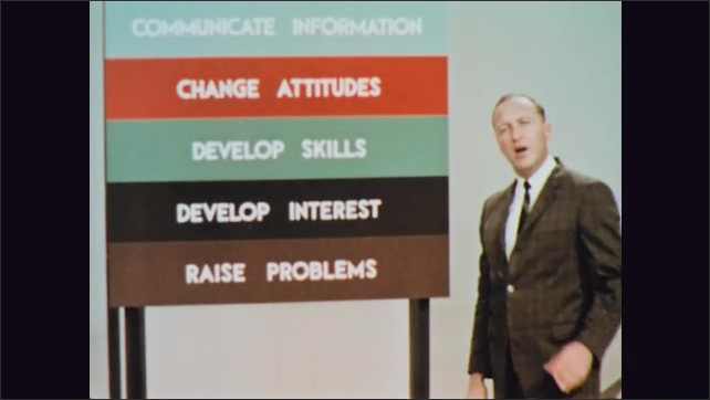 1960s: Man points to colored lines on large sign and speaks.
