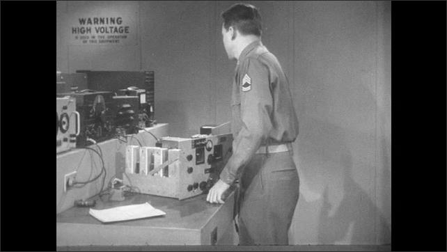 1950s: Man with equipment in lab. Hand adjusts speaker. Man in lab, picks up meter.