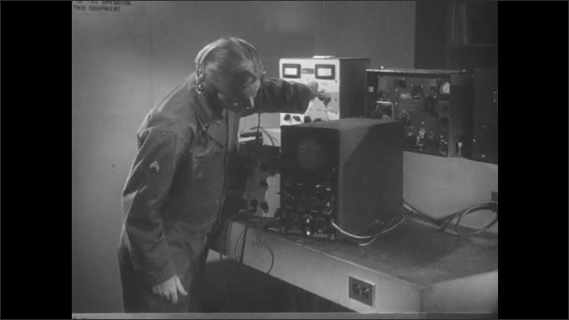 1950s: Close up of oscilloscope. Man with equipment in lab. Hand adjusts machine parts with screwdriver. Man with equipment.