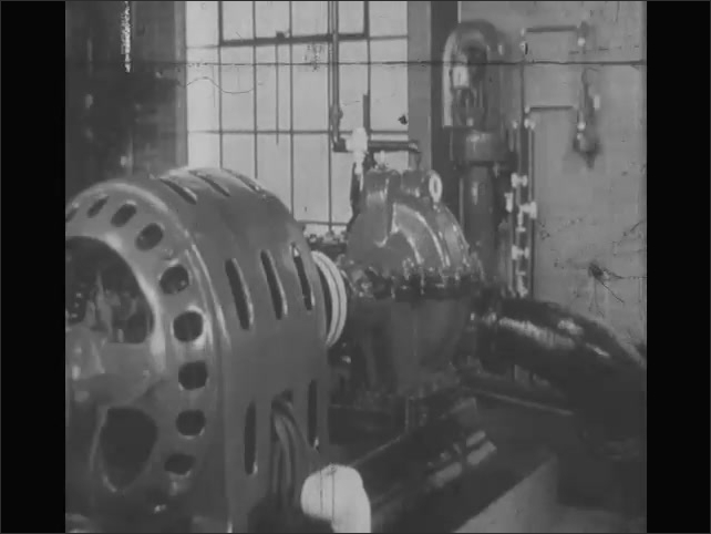 1940s: Animated line is drawn along horizon.  Man works in room with large machines.  Skyscraper.  Children drink from water fountain.