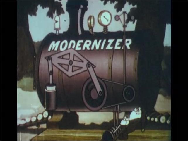 1930s: Dwarf drives coach up log ramp into Modernizer chamber. Dwarf is removed from Modernizer. Gauges and valves move on Modernizer.