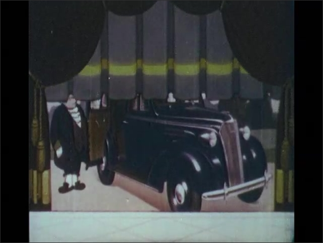 1930s: Cinderella walks toward curtain, mouth open in astonishment. Dwarves blow trumpets. Curtain raises. Brand new car revealed. Cartoon becomes photo of real car. Contest announced to win car.