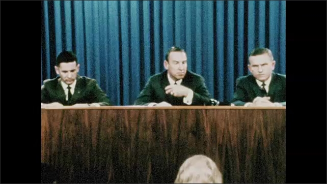 1960s: UNITED STATES: Apollo 8 crew in press conference. First humans to orbit the moon