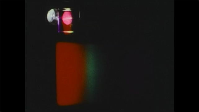 1980s: UNITED STATES: rainbow colours on screen. Diffraction grading.