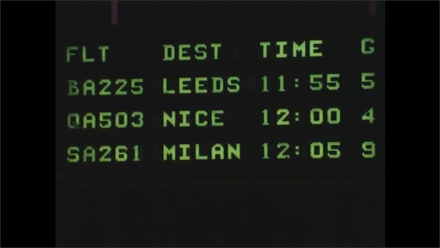 1980s: UNITED STATES: Flight times on board. Digital airport sign